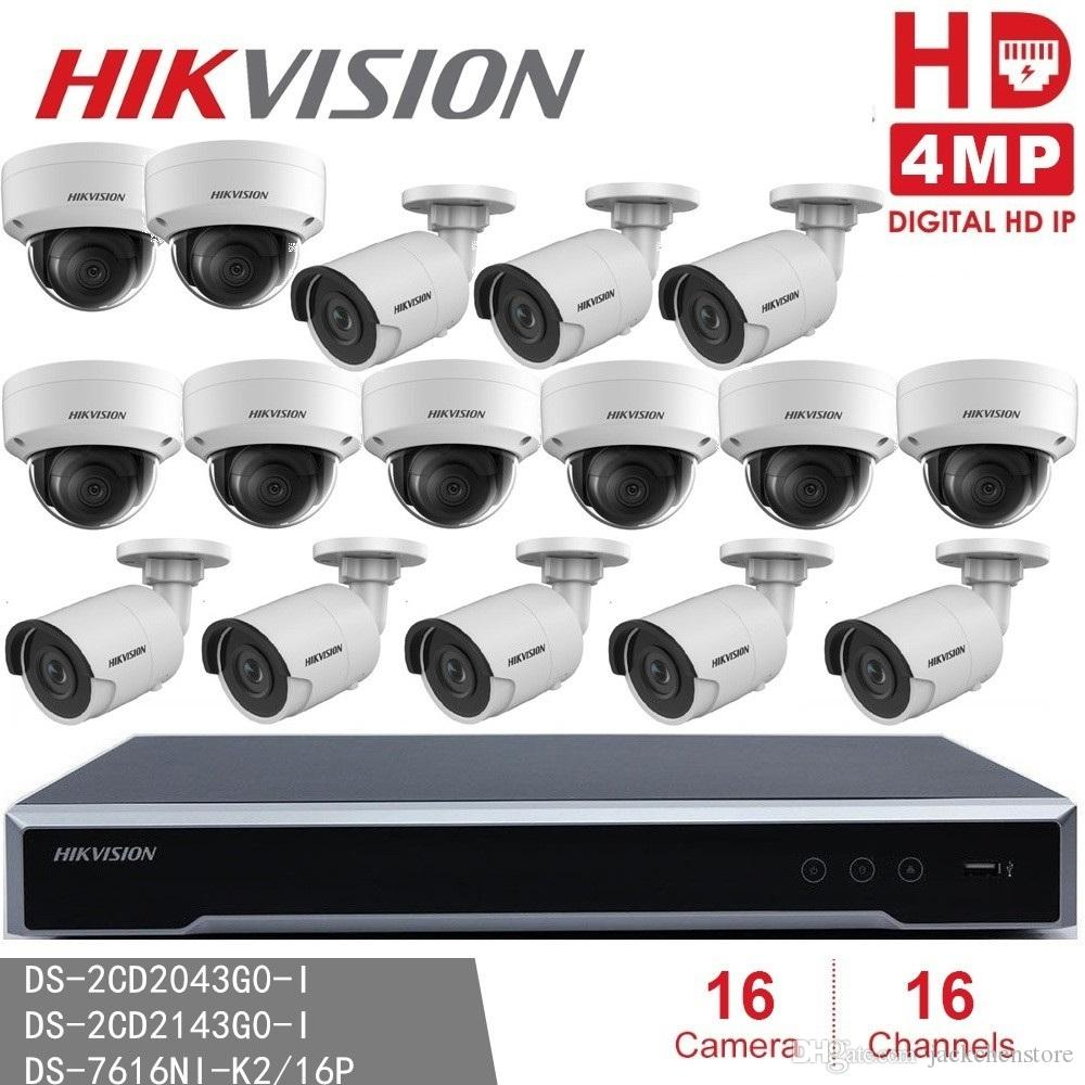 Hikvision Video Surveillance Kits (NVR + 16Camera) Hikvision NVR  DS-7616NI-K2/16P Embedded Plug & Play 4K NVR 8MP Resolution 16POE 16CH H265