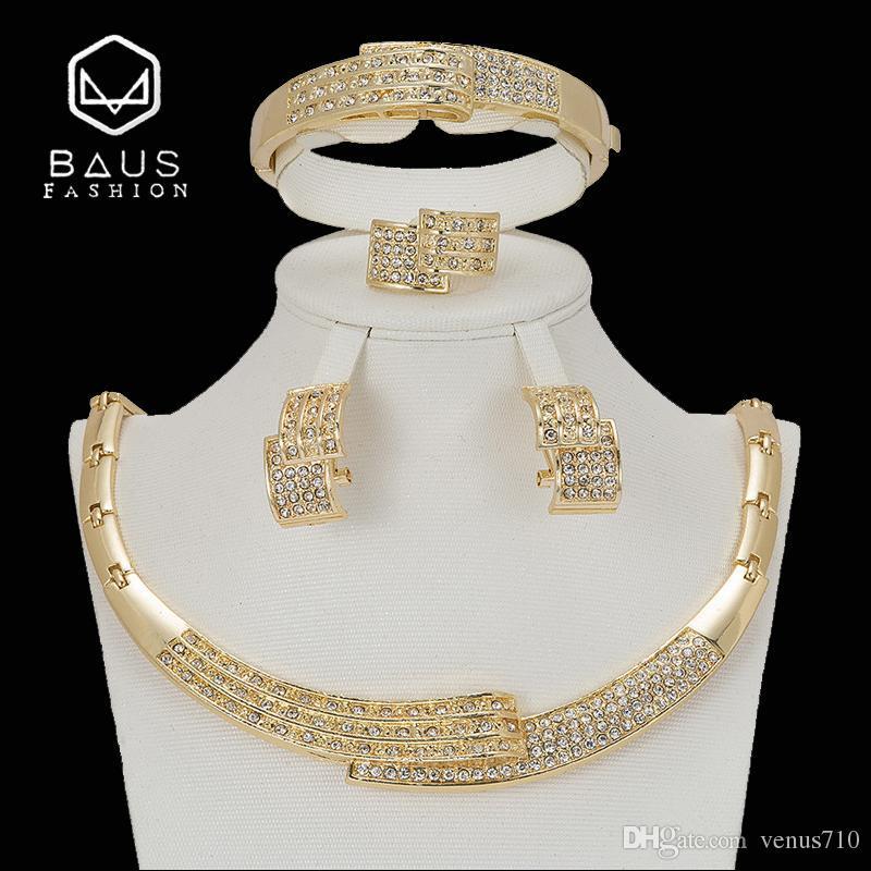 BAUS 2018 Dubai gold-color parure bijoux femme Jewelry sets African Pearl  Jewelry set turkish Romantic wholesale design
