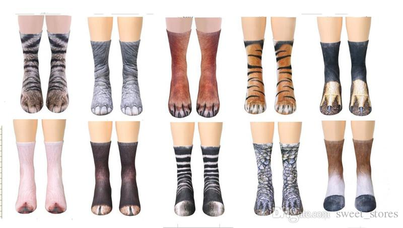 a754d1cdf09 2019 2018 Unisex Adult Animal Crew Socks 3d Print Sports Socks Adults Animal  Paw Feet Socks Children Digital Printing Simulation From Sweet stores