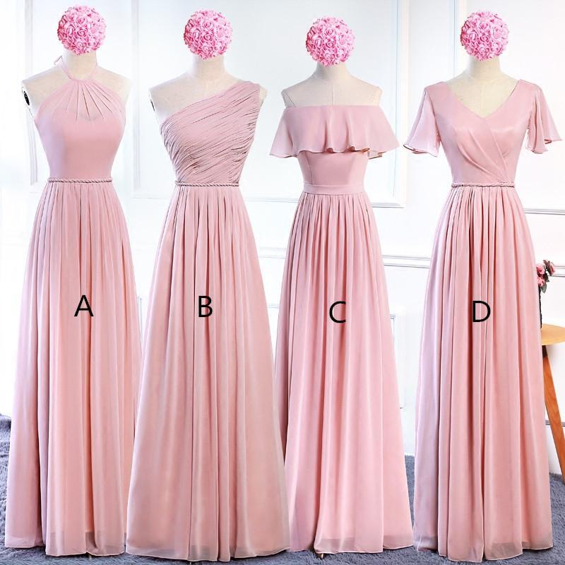 Blush rosa chiffon damas de honra vestidos novos longo da dama de honra vestido de verão até o chão empregada de honra vestidos