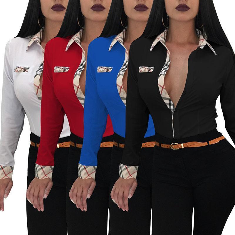 2b592913e64bc9 Acheter 4 Couleurs Femme Chemisiers À La Mode À Carreaux À Manches Longues  PoIo Shirt Surchemise Slim Casual Workwear OL Chemises De  10.56 Du ...