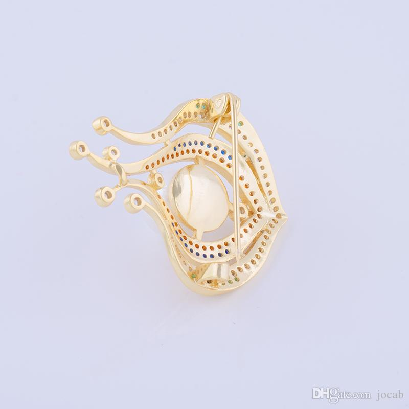 Wholesale 2018 Elegant Pearl Flower Bud Brooch Pins Costume Jewelry Fashion Clothes Accessories Zircon Rhinestone Large Coat Brooches Women