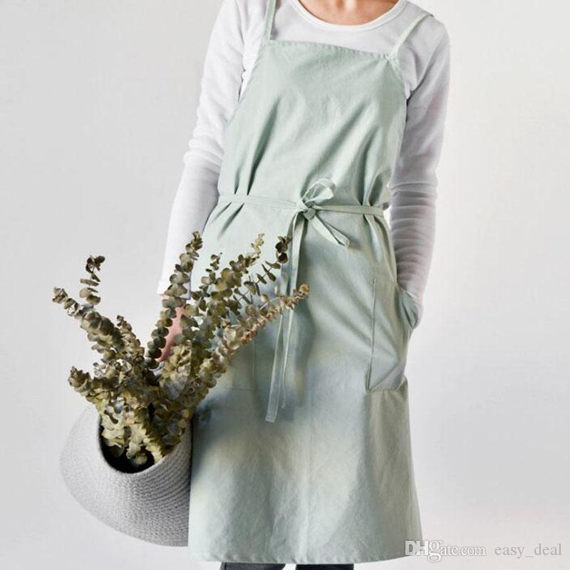 Moda Grembiule in cotone lavato Arrangiare Divisione Grembiule da lavoro uniforme da cucina tè e caffè Tuta Pinafore ZA6899