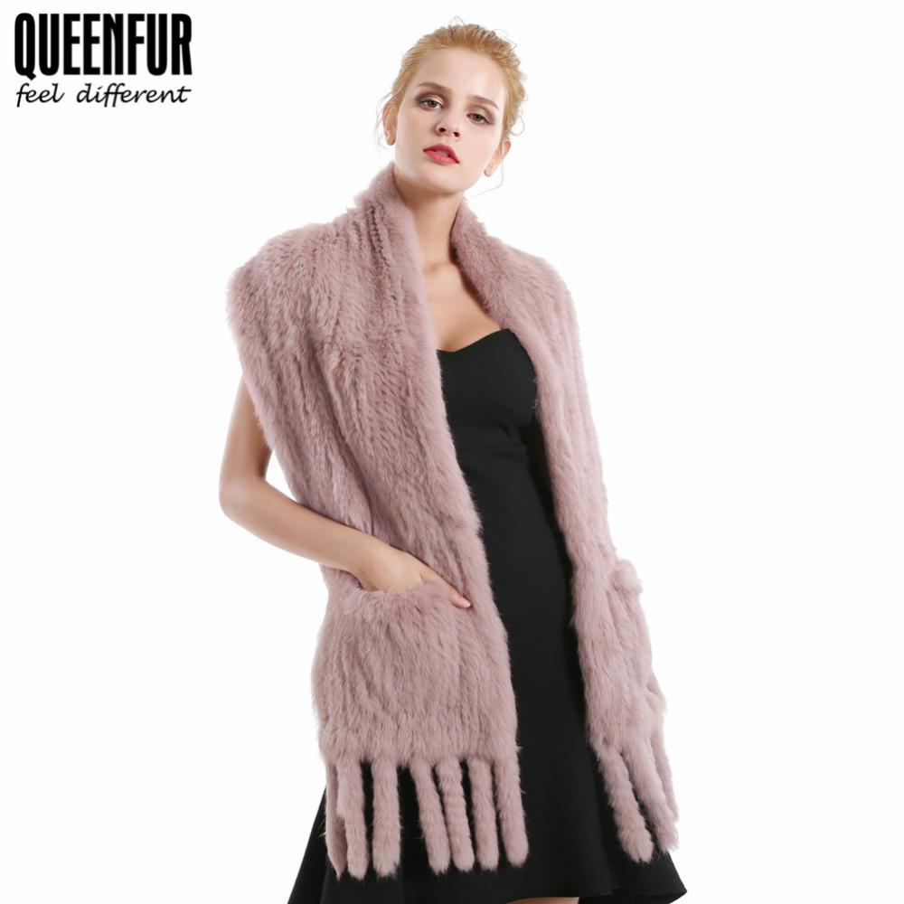 Women Real Fur Scarves Natural Knit Rabbit Fur Shawl Tassels Wrap Soft Stole Winter Warm Poncho Cape With Pocket