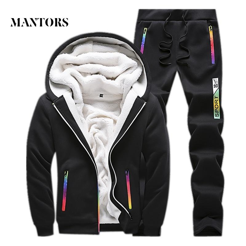 Casual Tracksuit Men Set 2018 Winter New Inner Fleece Thick Hooded Jacket + Pants Men's Two Piece Sets Warm Sporting Suit Male
