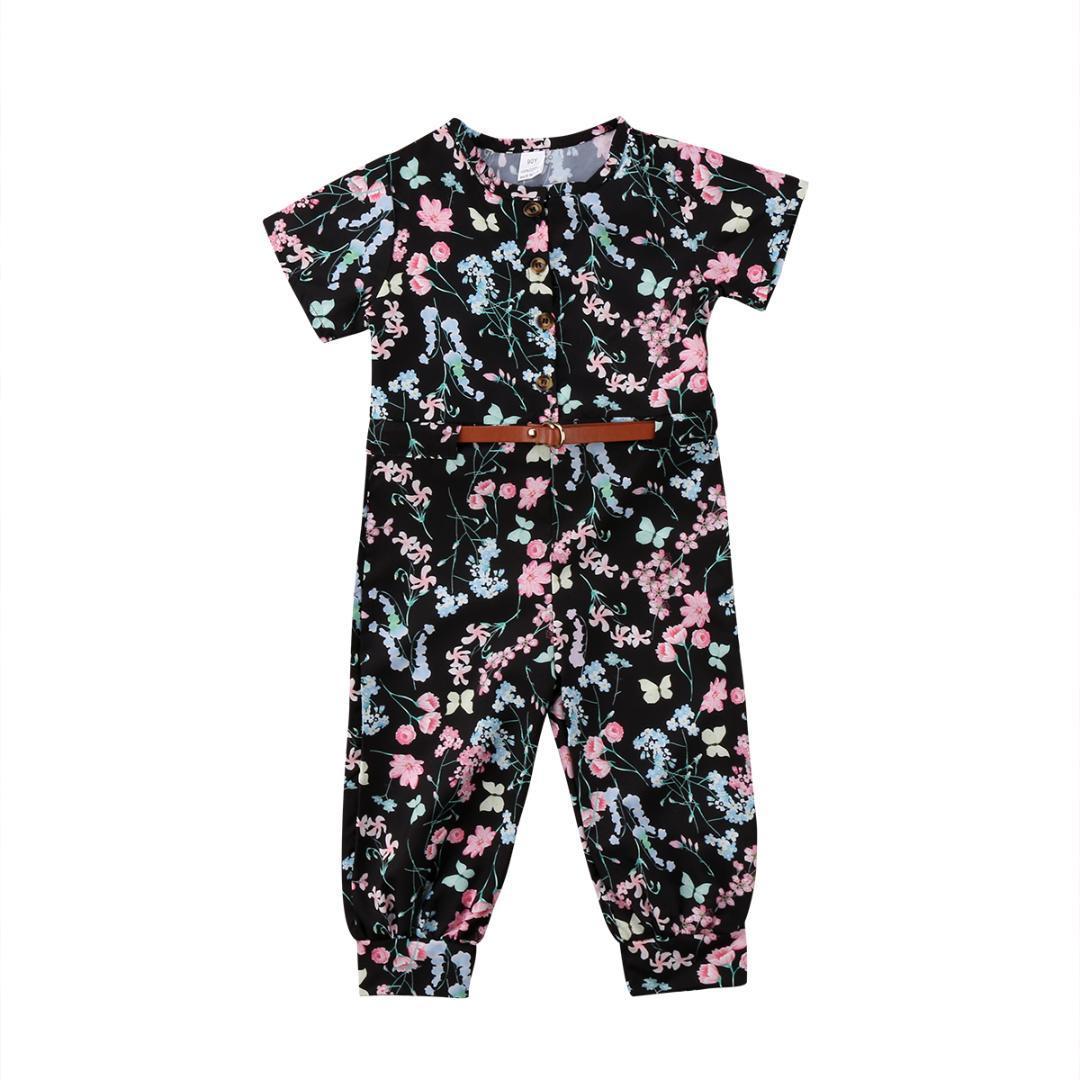 d5c0efe1f64 2018 Multitrust Brand Kids Baby Girl Floral Belt Romper Jumpsuit ...