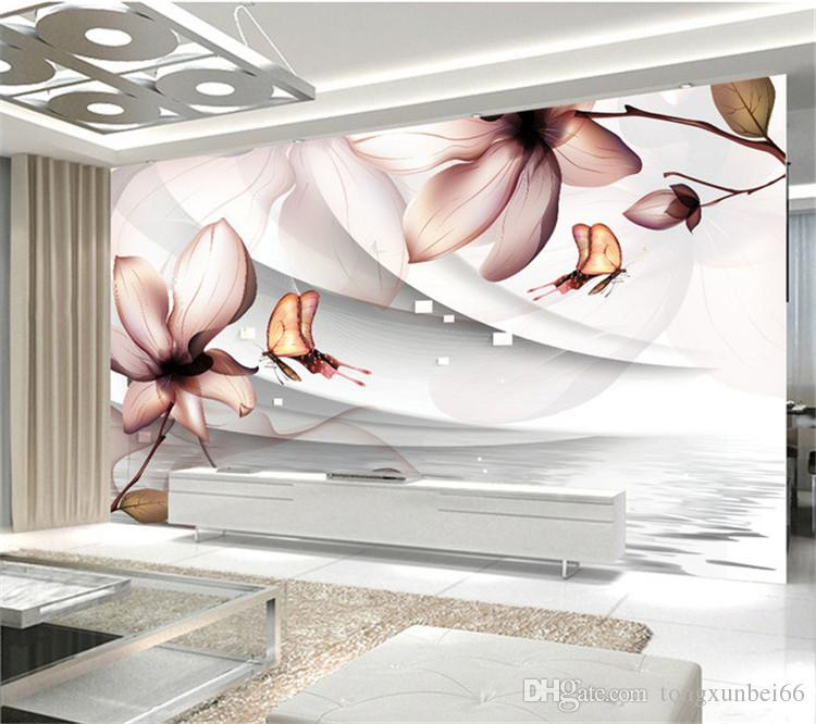 Custom 3D Photo Wallpaper Modern Abstract Fashion Living Room Sofa Bedroom TV Background Wall Mural Wallpaper Flowers Butterfly