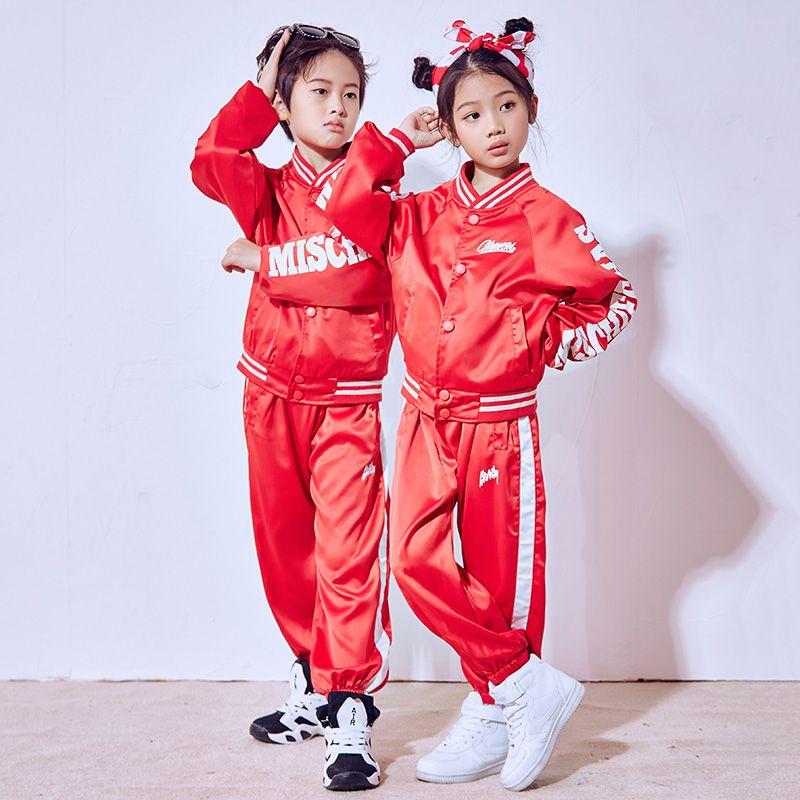 d6505f59551f 2019 Hip Hop Dance Costume Kids Boys Red Long Sleeve Jazz Costumes ...