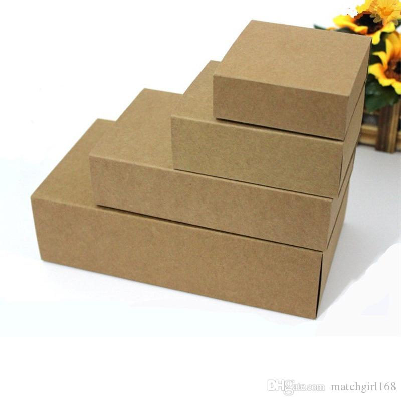 Blank Kraft Paper Drawer Boxes DIY Handmade Soap Craft Jewel Box for Wedding Party Gift Packaging