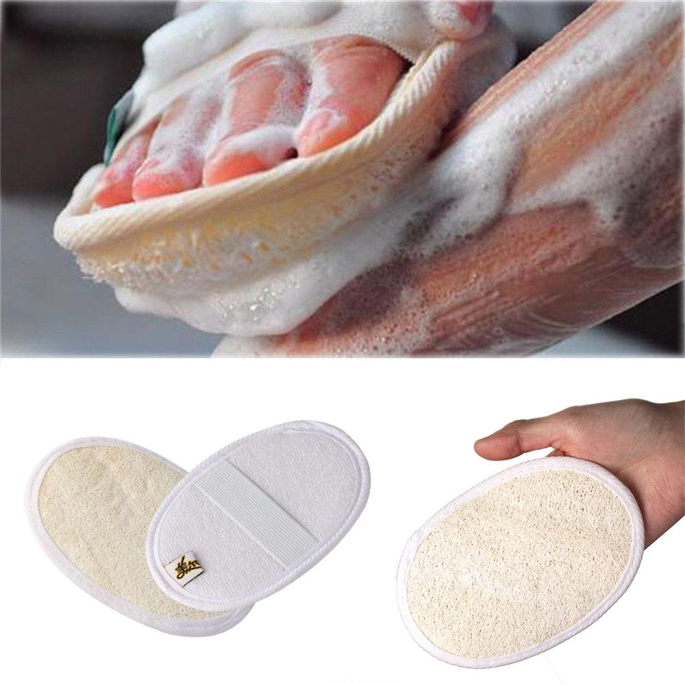 1pc Soft Exfoliating Loofah Natural Sponge Strap Handle Shower Massage Brush Skin body Bathing washing Accessories