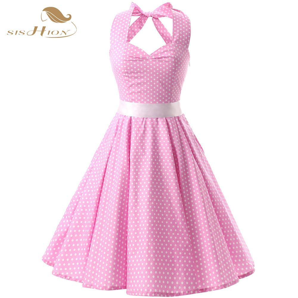 Wholesale Pink Red Black 50s Vintage Dress Polka Dots Casual Party Bandage  Retro Rockabilly Swing Women Summer Dresses VD0087 Floral Dresses For Sale  White ... 8bdc8fe75