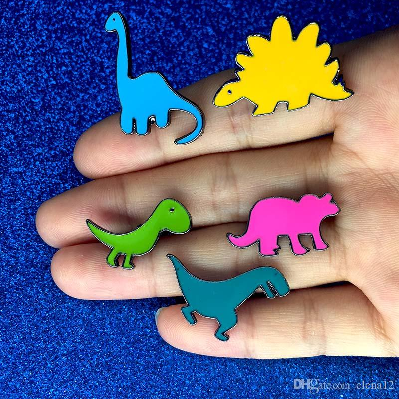 Cartoon Enamel little Dinosaur Brooch Pins Lapel Pins Badge Fashion Jewelry for Kids Women Will and Sandy Drop Shipping