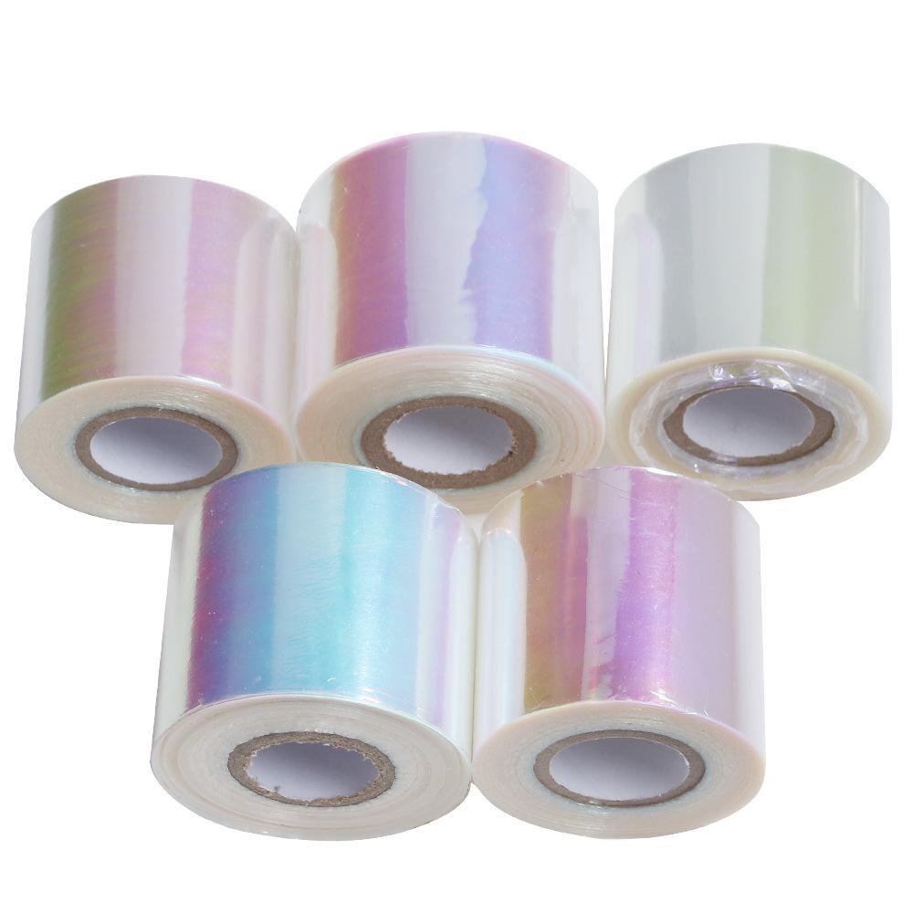 Nail Aurora Glue Glass Symphony Rollos de papel 100 metros * 5 cm es Manicure Star Paper Nail Beauty Tool