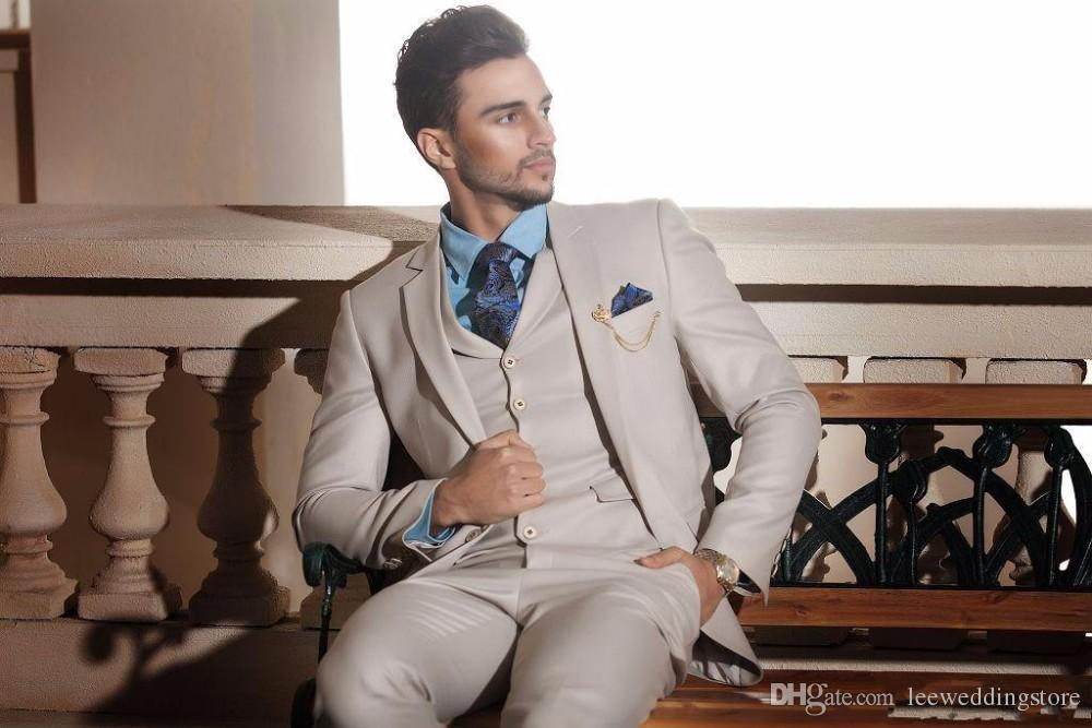 New Design Ivory Cream Groom Tuxedos Italian Luxury Style Mens ...