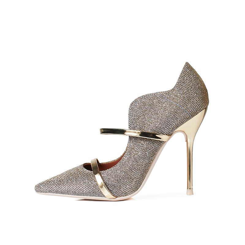 d29a2b80094 Spring Newest Golden Bling Pointed Toe High Heel Pumps Woman Sexy Shallow  Colorblock Metal Straps Stylish Office Dress Shoes Mens Loafers Formal Shoes  For ...