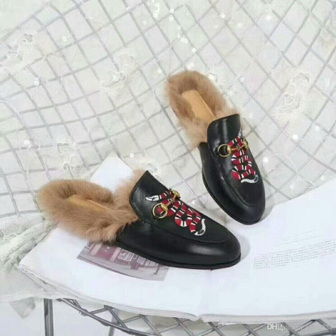 f0f726046 High Quality Winter Women Rabbit Fur Slippers Women Indoor Sandals Girls  Fashion Genuine Leather Embroidery Slides With Box #N41 Wedge Shoes Flat  Shoes From ...