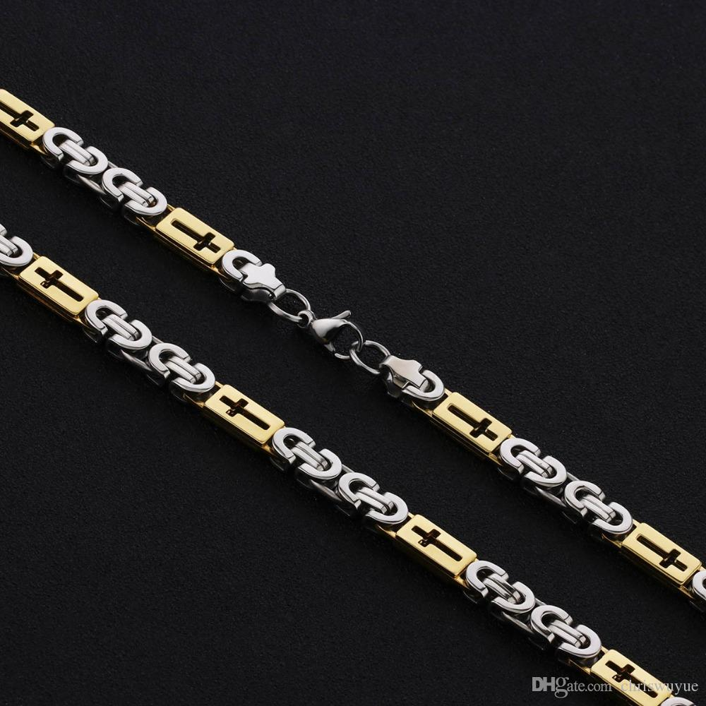 Stainless Steel Gold Byzantine Chain for Men Hollow Cross Metal Necklace Men Gift Accessory Hip Hop Jewelry Chaine Collier