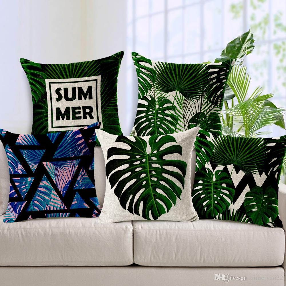 Beau Fresh Green Leaves Print Cushion Covers Polyester Throw Pillow Cases Living  Room Sofa Decoration Pillow Covers 45cm*45cm Lawn Chair Cushion Waterproof  ...