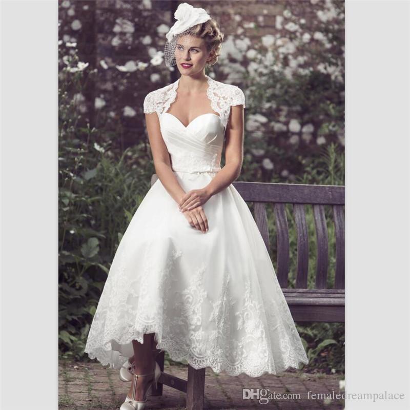 White Lace Short Country Wedding Dresses 2018 Elegant Draped Tea ...