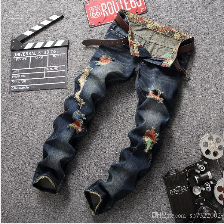 10361c79 2019 Men'S Jeans 2018 Spring Men'S Straight Slim Fashion Business Casual  Trend Scratched Jeans Plus Size 28 38 Activity Price From Sp7322002, ...
