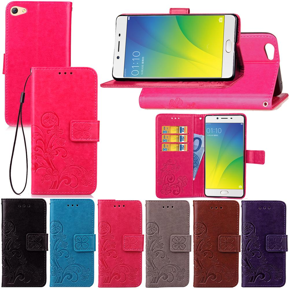 pretty nice dd84f 33f50 Flip Case For OPPO F3 Plus/R9s Plus Lucky Four Leaf PU Leather Cover Stand  with Wallet Card Holder