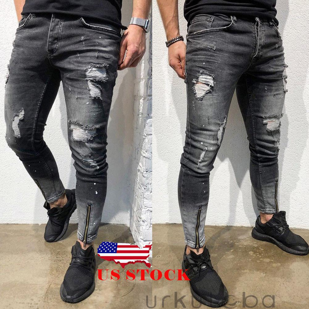 2019 New Fashion Men Ripped Jeans Pant Hole Skinny Biker Jean Destroyed  Frayed Slim Fit Denim Pencil Pants Biker Jean Plus Size 28 38 From  Manxinxin 4148b6517