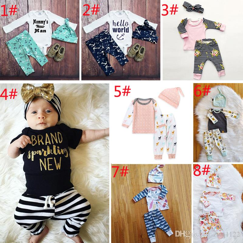 0ba7e6d5c 2019 Baby Boy Girl INS Letters Stripe Suits Kids Toddler Infant ...