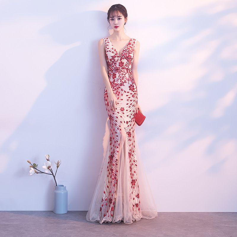 8bf327ff63 Compre NSL253 Vestidos De Noche De Un Hombro Estampado De Flores Estampado  Floral Vestido De Noche De Gasa Vestido De Fiesta Vestidos Largos De Baile  A ...