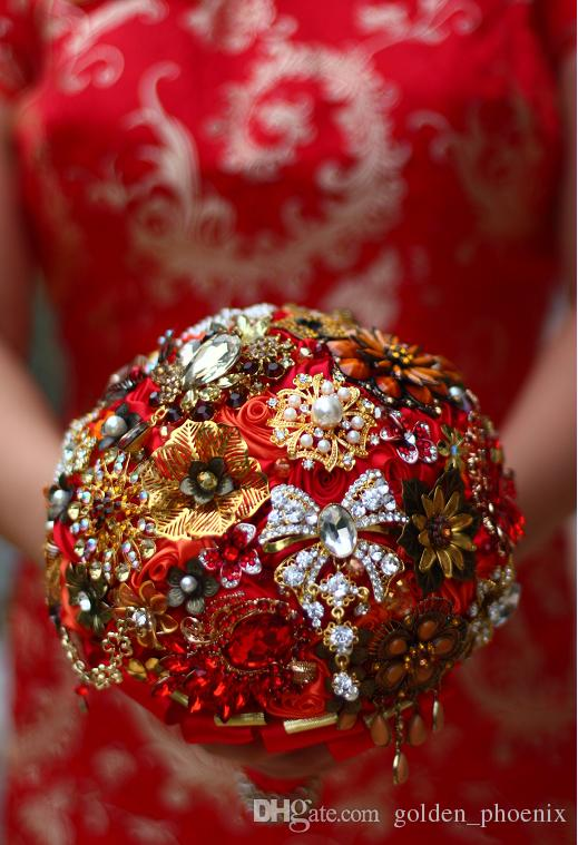 High-end custom Chinese wedding jewelry holding flowers red DIY crystal diamond brooches bridal bouquet