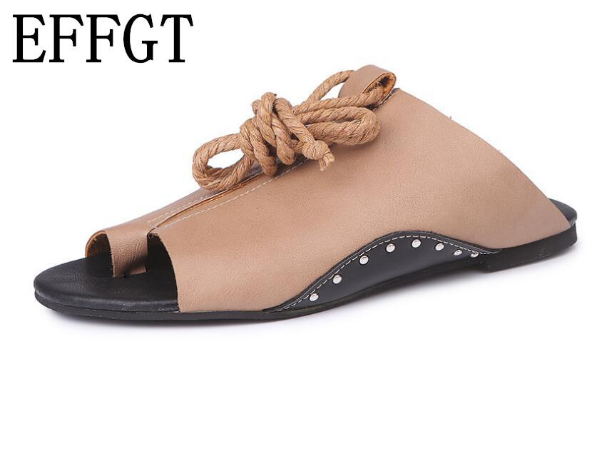 852c6d3f77995 EFFGT 2018 Summer New Fashion Women Slippers Lace-up Flat Sandals ...