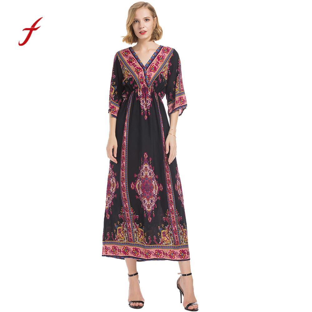 f7c3f2d5c5 Women Clothing 2018 Feitong V Neck Beach Long Maxi Dress Summer Autumn Women  Printing Half Sleeve Bohemian Evening Party Dress Long Sleeve White And  Gold ...