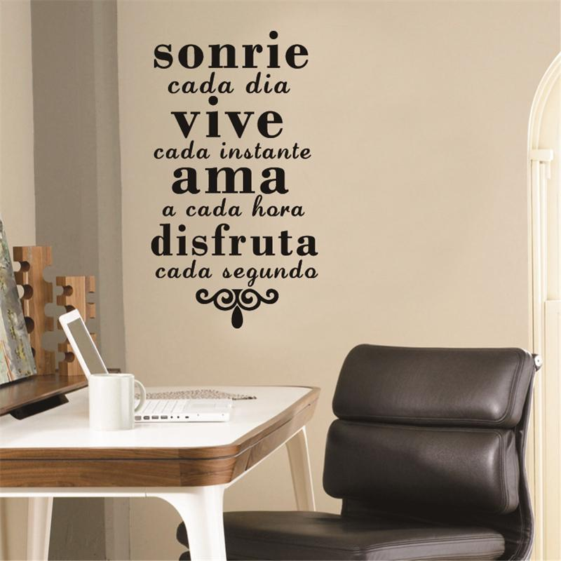 Stickers Spanish Inspirational Quotes Wall Art Sticker Smile