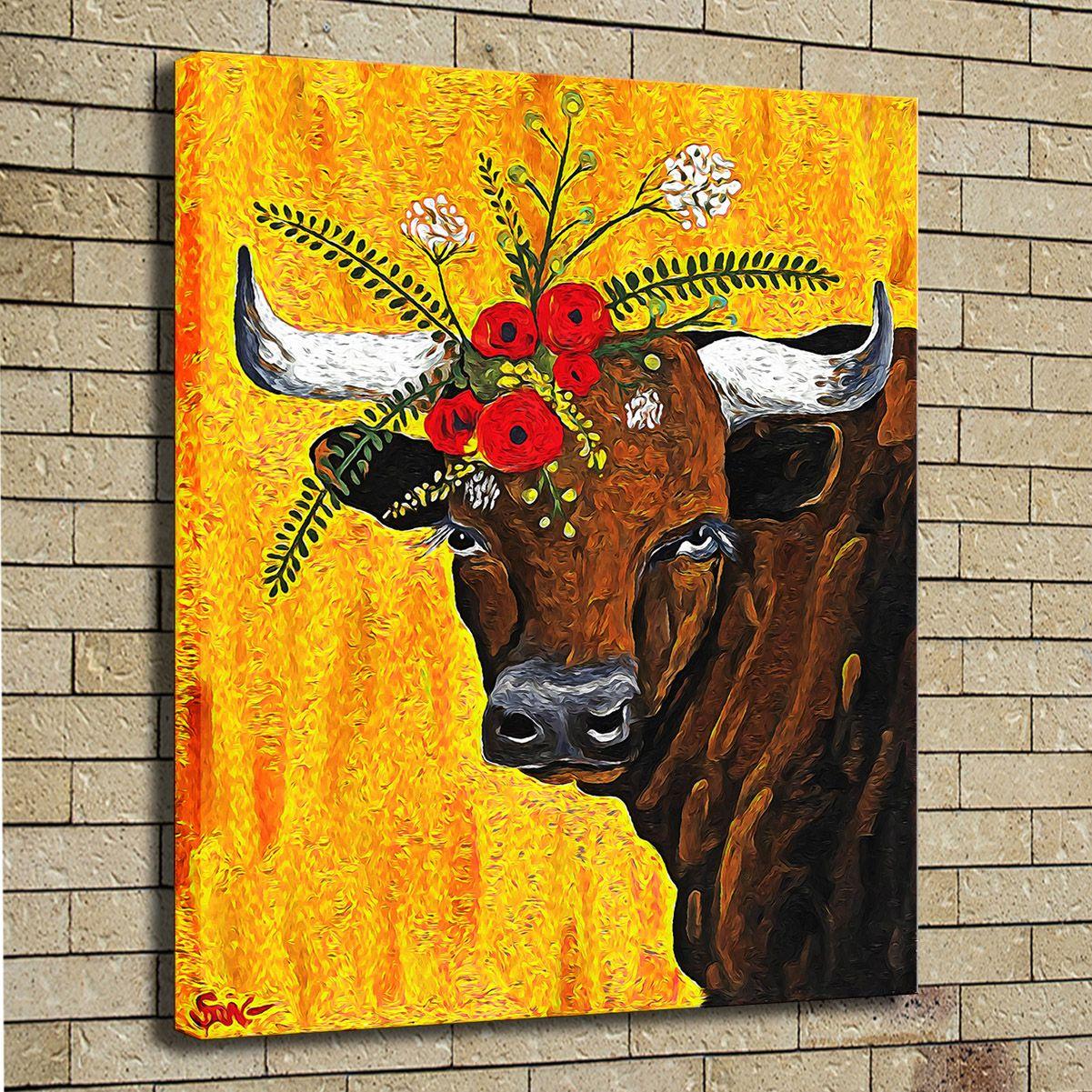 2018 Hd Print Oil Painting Wall Art Canvas Cute Cow Art Giclee ...