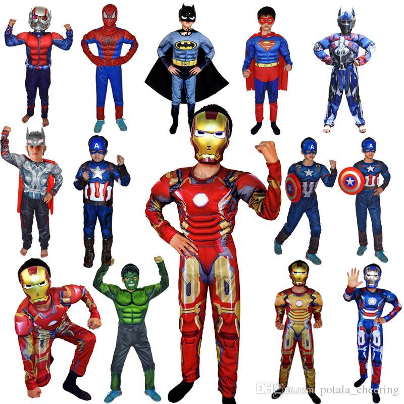 020793bfdd Compre Super Heróis Vingadores Macacão Capitão América Superman Batman Hulk  IronMan Thor MuscleNon Roupa Muscular Trajes Cosplay Dia Das Crianças De ...
