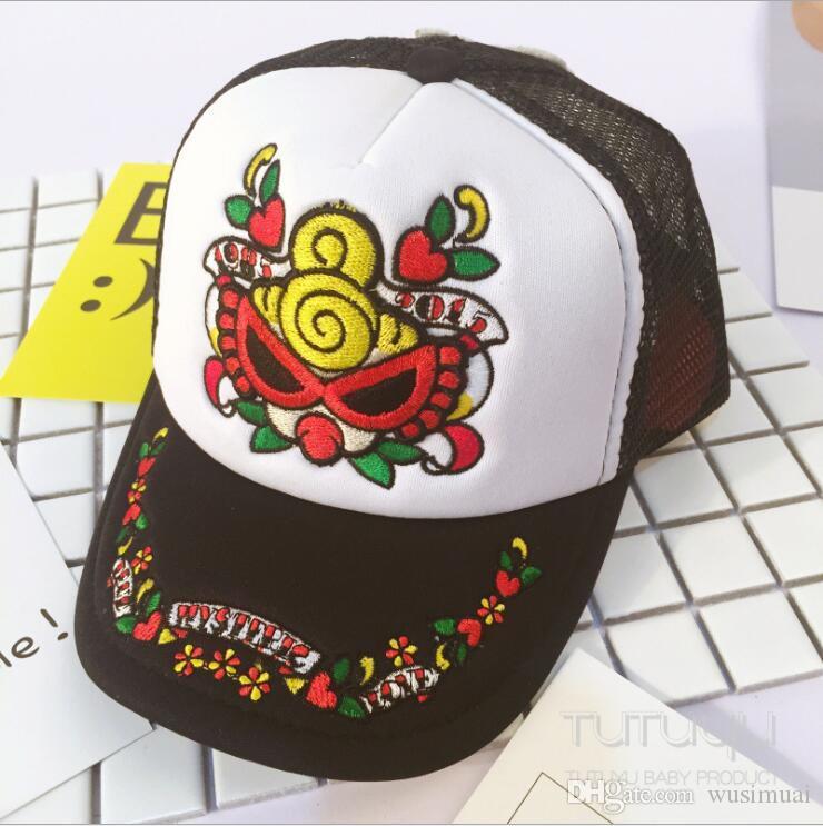 일본 유명 브랜드 로고 아기 모자 귀여운 럭셔리 자수 남여 어린이 여름 통기성 모자 야구 모자