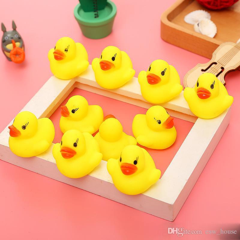 Детские ванны воды утка игрушки звуки мини желтый резиновые утки дети ванна маленькая утка игрушки дети плавание пляж подарки бесплатная доставка