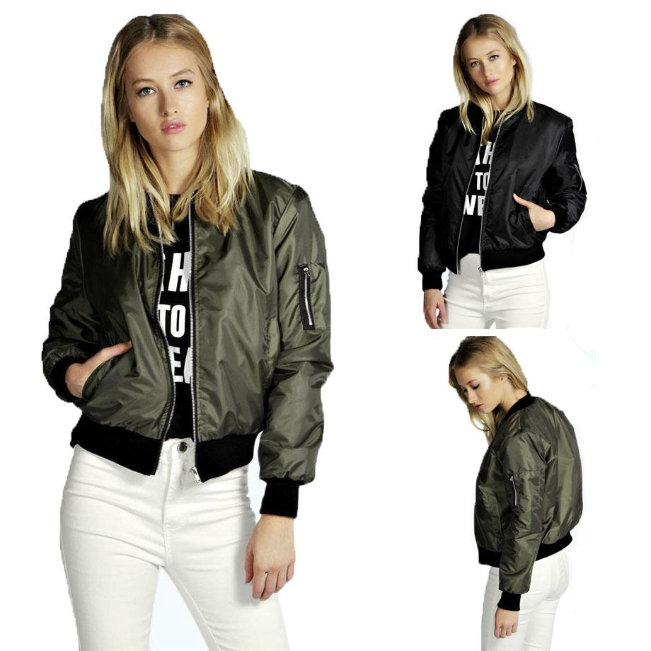 9ff638fda38 Cool Black Army Green Classic Bomber Jacket Women Thin Stand Collar Zip Up  Leisure Biker Coat Zip Up Jackets Womens Winter Jackets Summer Jackets From  ...