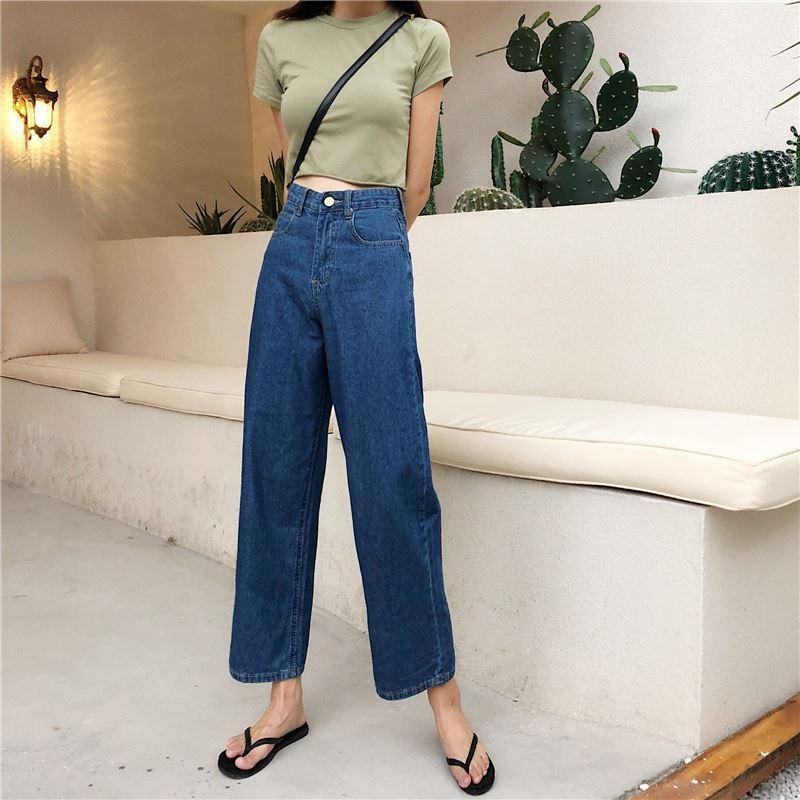 Women's Clothing Buy Cheap Fashion Pockets Womens Wide Leg Jeans High Waisted Loose Denim Trousers Women 2018 Vintage Korean Hot Pants Buy One Get One Free Jeans
