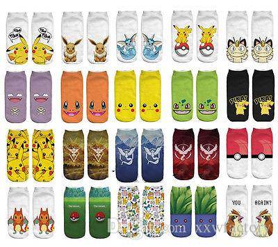 3d Impression Chaussettes De Dessin Animé Mignon Pikachu Kawaii Personnage Chaussettes Monstres De Poche Anime Pour Les Femmes