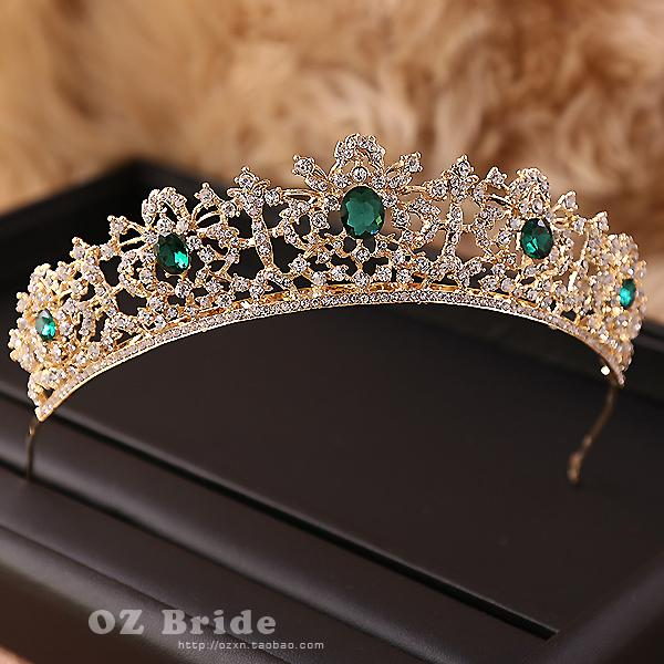 Acquista Nuovo Difetto Verde Strass Corona D oro Nuziale Tiara Corona  Femminile Accessori Capelli Da Sposa S919 A  18.5 Dal Ruiqi07  5d30139adcd2