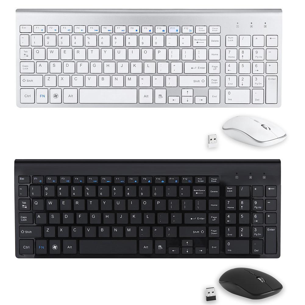 2018 Ultra-thin Mute 2 4G Wireless Mouse Full-size With Digital Wireless  Keyboard Kit Compact Keyboard and Mouse Combo