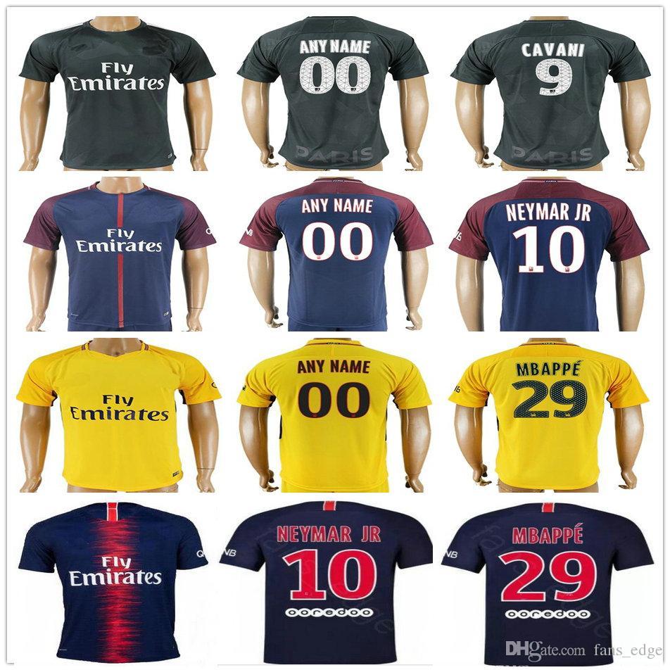 0945c379aad67 18 19 Football 10 NEYMAR JR Jerseys 6 VERRATTI 9 CAVANI 29 MBAPPE DANI  ALVES DI MARIA TRAPP T.SILVA Custom Soccer Shirt