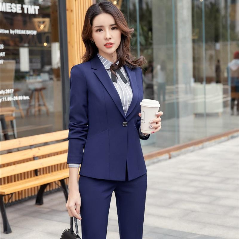 a00d79bd4b6c3 2019 2018 New Styles Navy Blue Formal Pantsuits Women Business Blazers Suits  With Jackets And Pants For Ladies Office Sets From Tuhua, $77.2   DHgate.Com