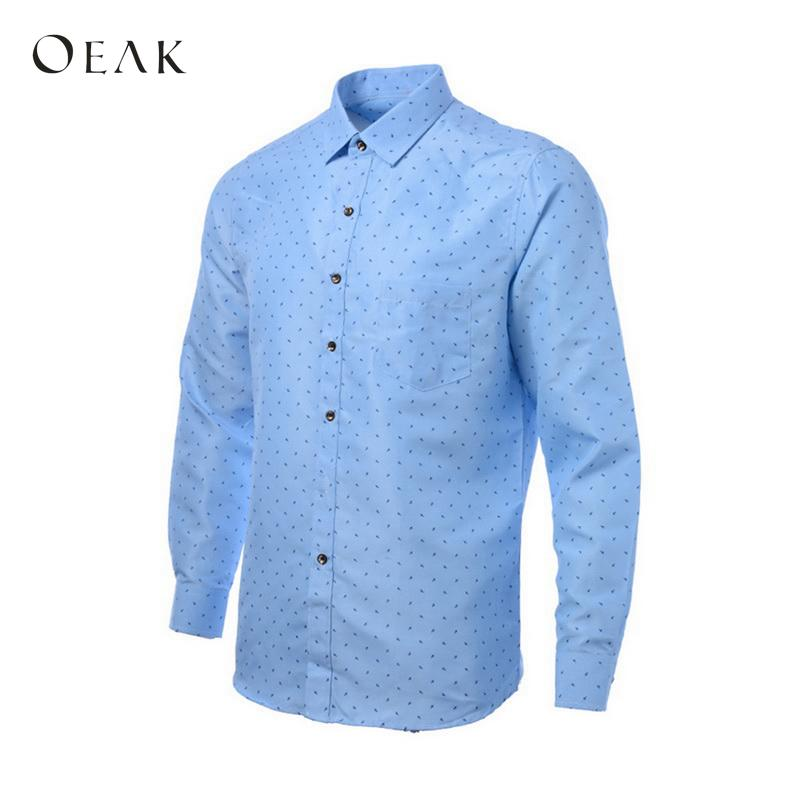 Men Shirt Long Sleeve Printed Casual Shirt Wave Poin Simple Slim Fit Male Social Business Dress Oeak TS