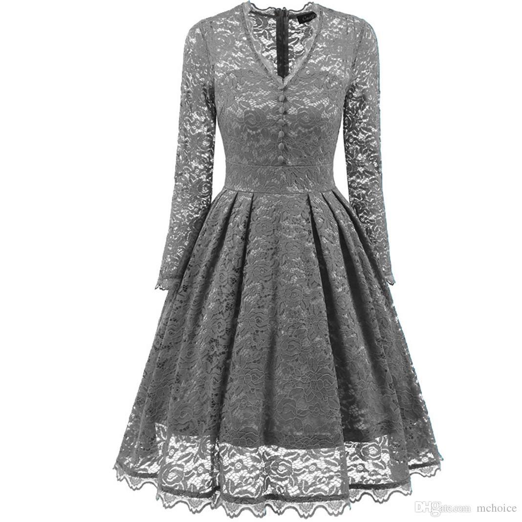 81c07ea6ac4e2 Compre Vestido Vintage De Las Mujeres De La Década De 1970 De Los Años 80  Vestido Largo Delgado De Cintura Alta Una Línea De Mangas Largas De Otoño  Invierno ...