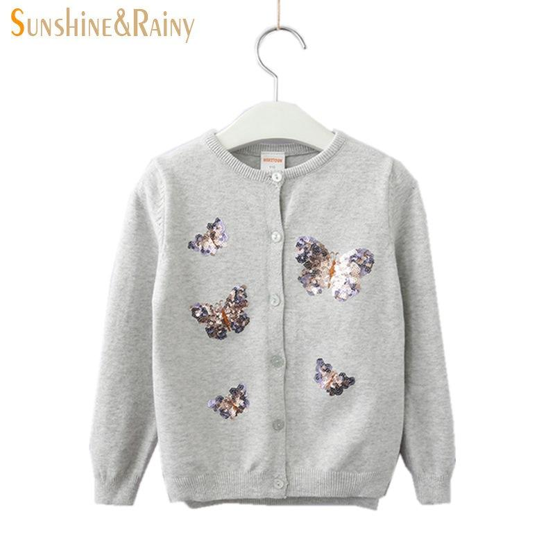 Sunshine & Rainy Kids Sequined Butterfly Sweater Girls Long Sleeve Knitted Cardigan Casual Cardigans For Girls Child Clothes