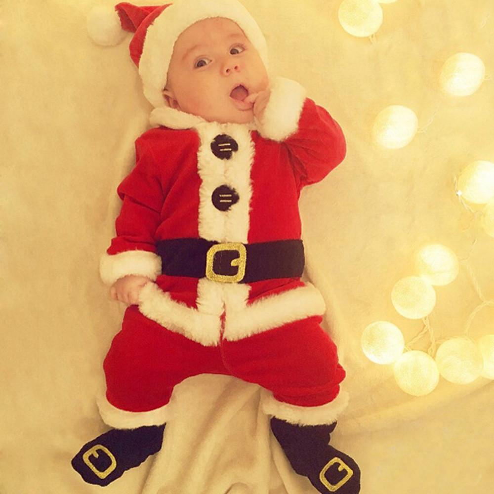 2b3a5f55f 4PCS Infant Baby Santa Christmas Tops Pants Hat Socks Outfit Set Costume  children baby girls boys Clothing Sets