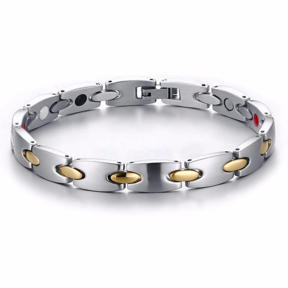 Cool Mens Unisex Watch Band Link Chain Silver&Gold 316L Stainless Steel Bracelet Bangle 8mm*22cm Mens Jewelry