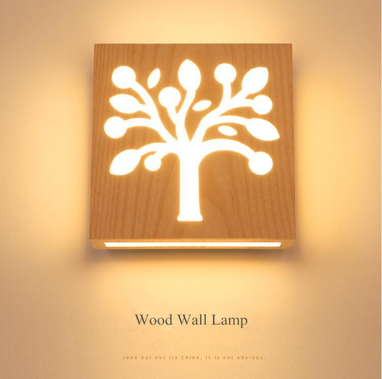 2018 2018 Engraved Solid Wood Bed Room Bedside Led Wall Lamp Simple ...