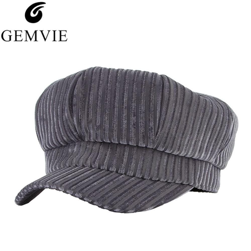 3d02db37 Women Autumn Winter Hats Fashion Berets Solid Color Velvet Beret Hat  Vintage Octagonal Cap Stripes Newsboy Hat Painter Newsboy Caps Cheap  Newsboy Caps Women ...